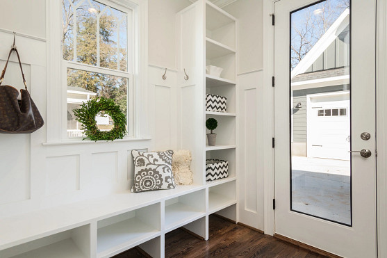 Upgrade lighting and storage in a mudroom