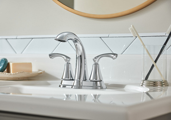 Tiffin Chrome Two-Handle High Arc Bathroom Faucet