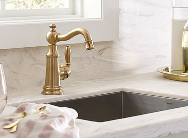 Brushed Gold Weymouth Kitchen Faucet Room