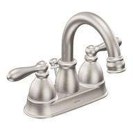 Caldwell Spot Resist Brushed Nickel Two-Handle High Arc Bathroom Faucet