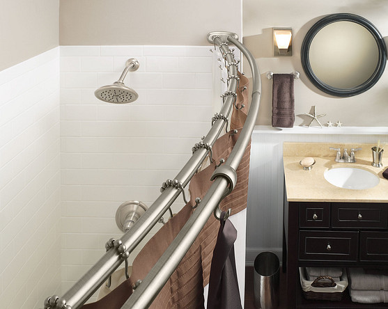 Moen's curved shower rod is available in chrome, brushed nickel and Old World bronze