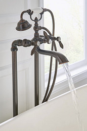 Weymouth Oil Rubbed Bronze Two-Handle Tub Filler with Handshower Close Up