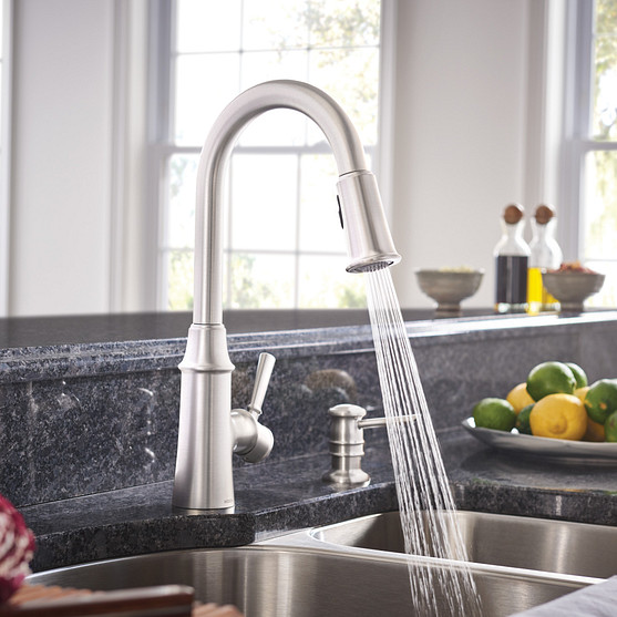 Caris Spot Resist Stainless One-Handle High Arc Kitchen Faucet 87402SRS