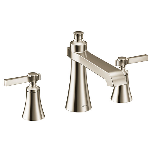 Flara Polished nickel two-handle high arc roman tub faucet