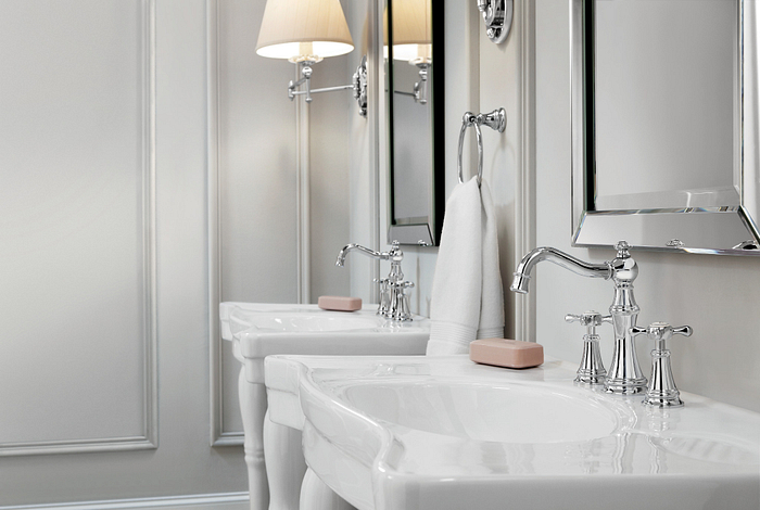 Featuring the Weymouth Chrome Two-Handle High Arc Bathroom Faucet