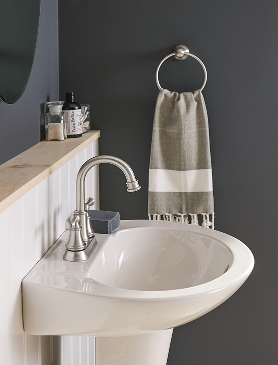 Coordinate bathroom shelving, faucets, and accessories