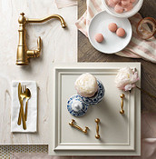 Brushed Gold Weymouth Kitchen Faucet Flatlay