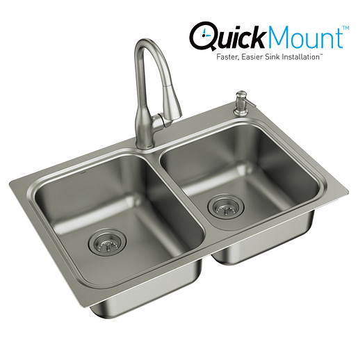 """Kelsa Stainless steel 33"""" X 22"""" 18 Gauge Double Bowl Faucet and Sink Combination"""