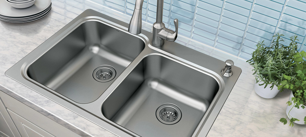 Top View Double Bowl Undermount Kitchen Sink