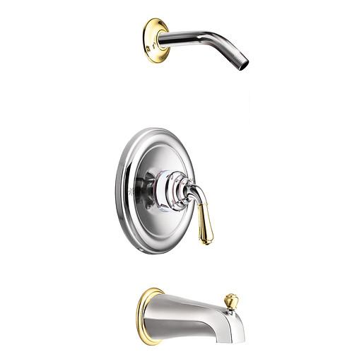 Monticello Chrome/polished brass Posi-Temp® tub/shower