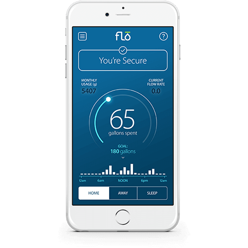 Dashboard Mobile Phone Screen of Flo by Moen Mobile App