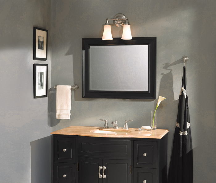 Featuring the Rothbury Brushed Nickel Two Light Bath Light