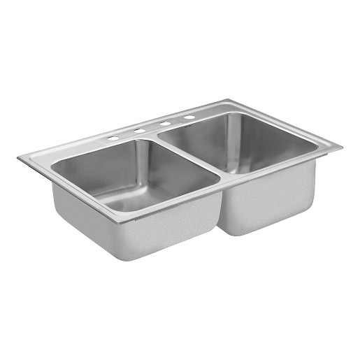 """Commercial 33""""x22"""" stainless steel 18 gauge double bowl sink"""
