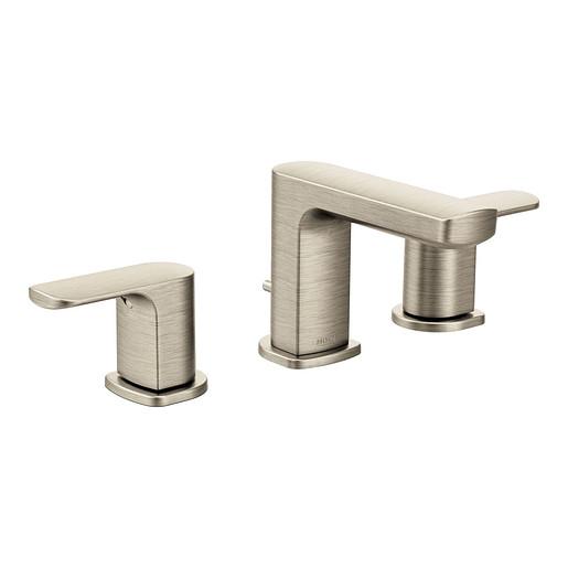 Rizon Brushed Nickel Two-Handle Low Arc Bathroom Faucet
