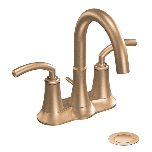 Icon Brushed bronze two-handle high arc bathroom faucet