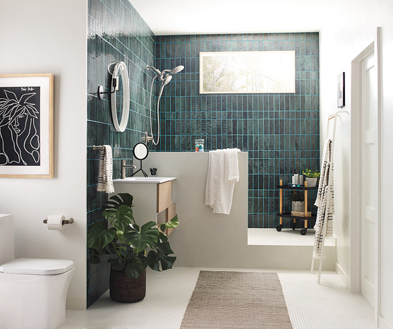 Replace your shower curtain and add a rug, potted plant, and accessories