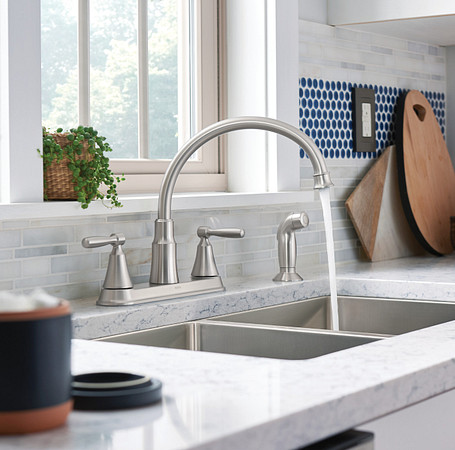 2oclock Hutchinson Spot Resist Stainless Two-Handle High Arc Kitchen Faucet