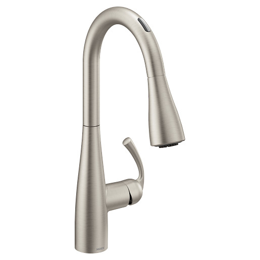 U by Moen Smart Faucet Spot Resist Stainless One-Handle High Arc Pulldown Kitchen Faucet in Essie