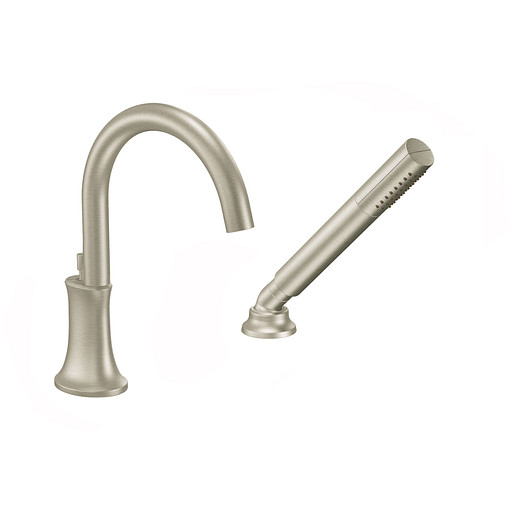 Icon Brushed nickel high arc roman tub faucet includes hand shower IoDIGITAL® technology