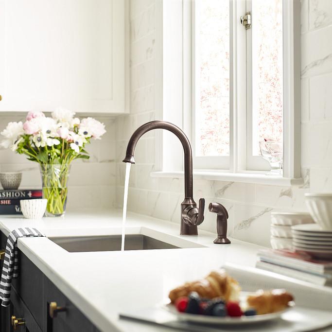 Bayhill Mediterranean Bronze One-Handle High Arc Kitchen Faucet