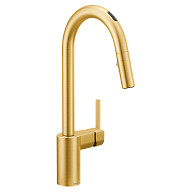 U by Moen Smart Faucet Brushed Gold One-Handle Pulldown Kitchen Faucet in Align