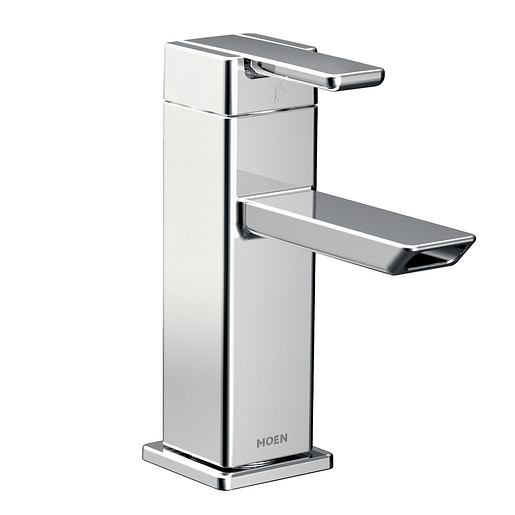 90 Degree Chrome One-Handle Low Arc Bathroom Faucet