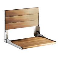 Moen Home Care Chrome and Teak Folding Shower Seat