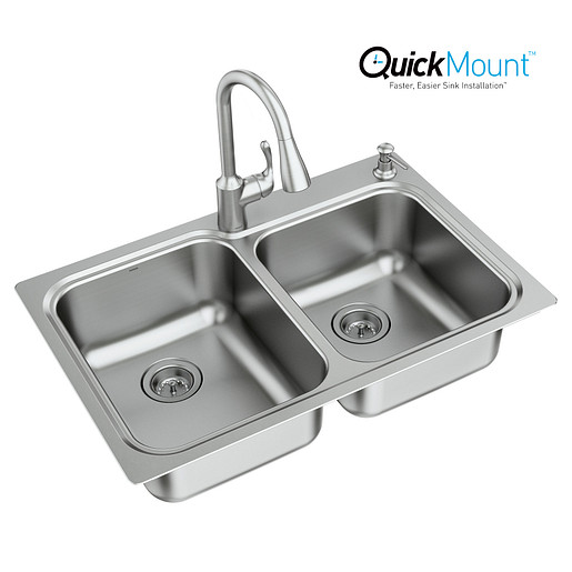 """Lodi Stainless steel 33"""" X 22"""" 18 Gauge Double Bowl Faucet and Sink Combination"""