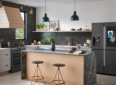 Modern Kitchen with STo Brushed Gold Pulldown Kitchen Faucet