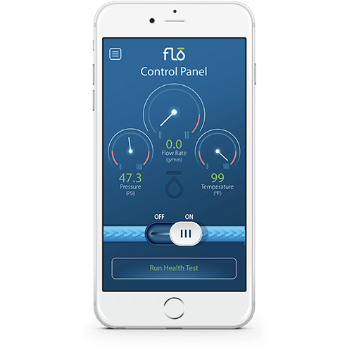 Control Panel Mobile Phone Screen of Flo by Moen Mobile App
