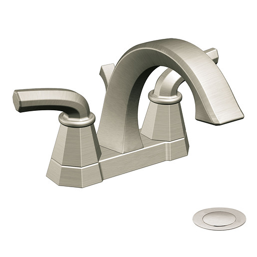 Felicity Brushed nickel two-handle high arc bathroom faucet