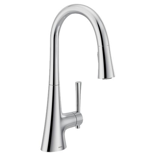 Kurv Chrome one-handle high arc pulldown kitchen faucet