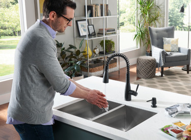 Springvale Matte Black Spring Kitchen Faucet Room