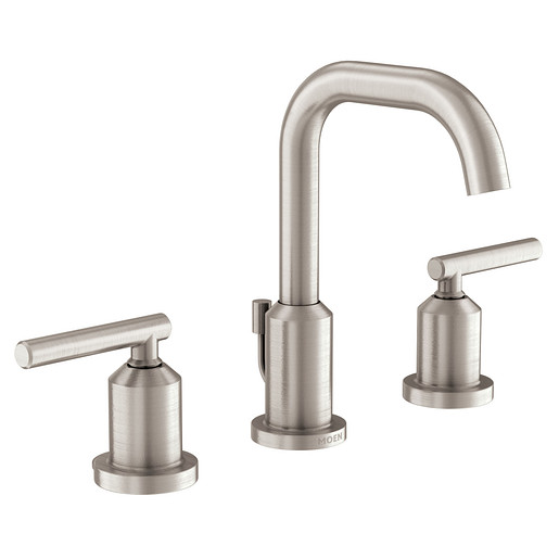 Gibson Spot Resist Brushed Nickel Two-Handle High Arc Bathroom Faucet