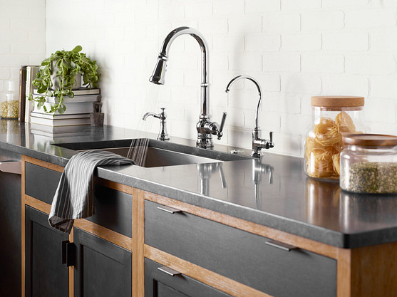 Paterson Chrome One-Handle High Arc Pulldown Kitchen Faucet S72003