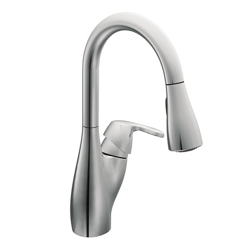 Medora Chrome one-handle high arc pulldown kitchen faucet