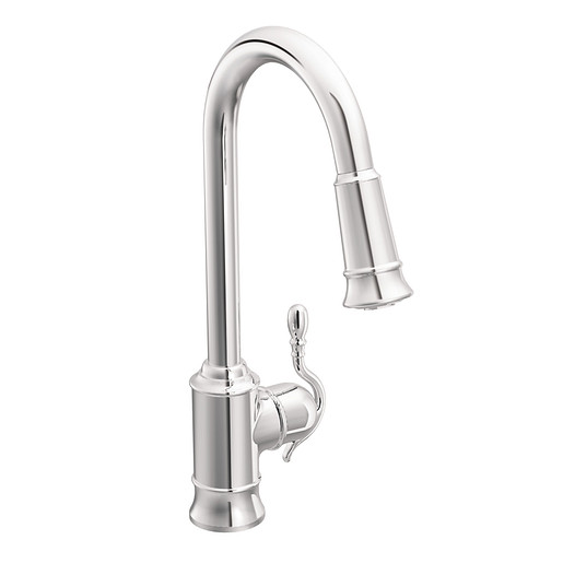Woodmere Chrome one-handle high arc pulldown kitchen faucet