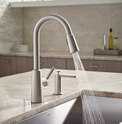 Riley Spot Resist Stainless One-Handle High Arc Pulldown Kitchen Faucet 7402SRS