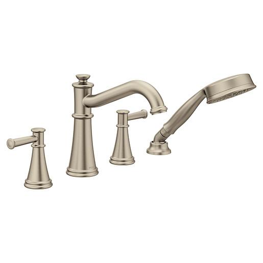 T9024BN - Belfield Brushed nickel Two-Handle Diverter Roman Tub Faucet including Handheld Shower