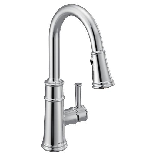 Belfield Chrome one-handle high arc pulldown kitchen faucet
