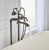 Weymouth Oil Rubbed Bronze Two-Handle Tub Filler Includes Hand Shower