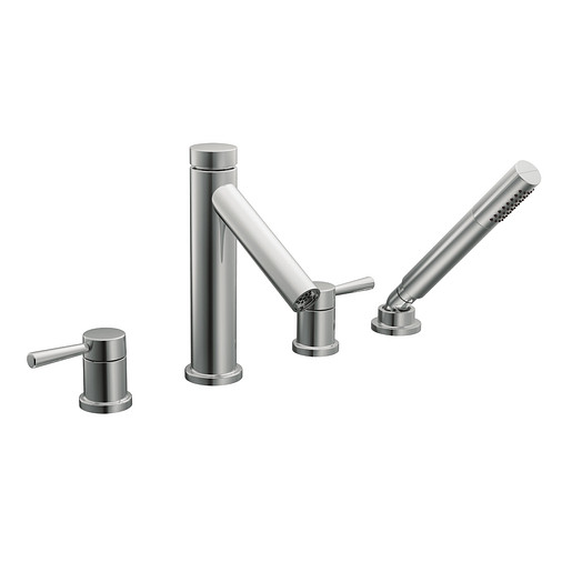 Level Chrome two-handle high arc roman tub faucet includes hand shower
