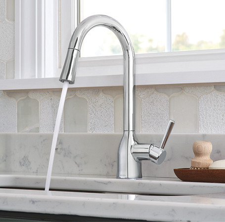 2oclock Adler Chrome One-Handle High Arc Pulldown Kitchen Faucet