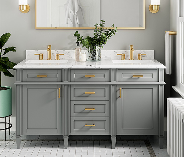 8oclock Align Brushed Gold Two-Handle High Arc Bathroom Faucet