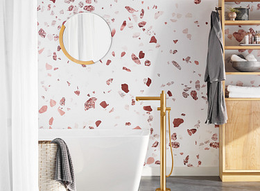 Align Brushed Gold Tub Filler with Wallpaper Background