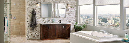 Double Vanity Large Spacious Bathroom Moen Faucets