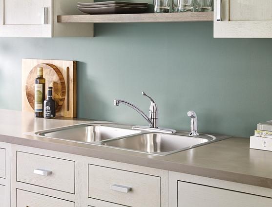 Chateau Chrome One-Handle Low Arc Kitchen Faucet 7430