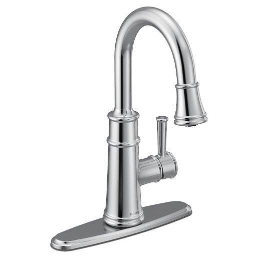 Belfield Chrome one-handle high arc pulldown bar faucet