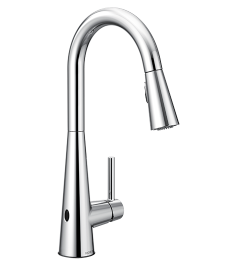 Sleek Chrome One-Handle High Arc MotionSense Pulldown Kitchen Faucet