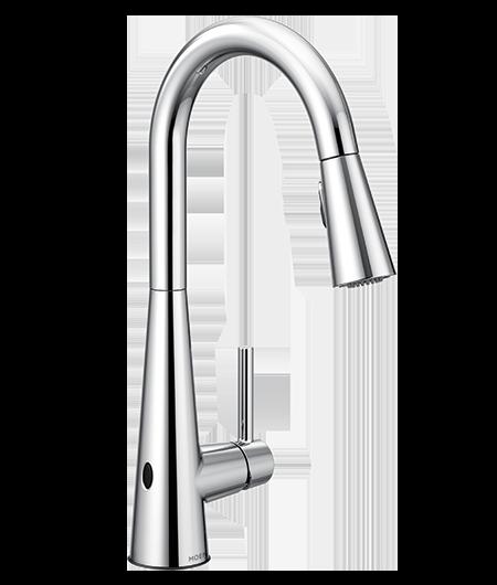 Sleek Chrome One-Handle High Arc MotionSense Pulldown Kitchen Faucet